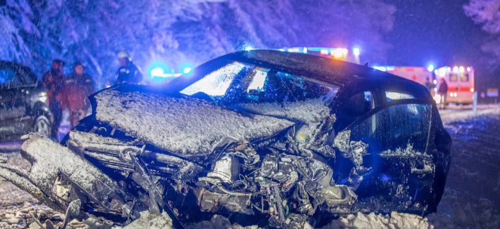 Viel Schnee und glatte Straßen: Baum verursacht Verkehrsunfall (Bild: Ralph Goppelt)