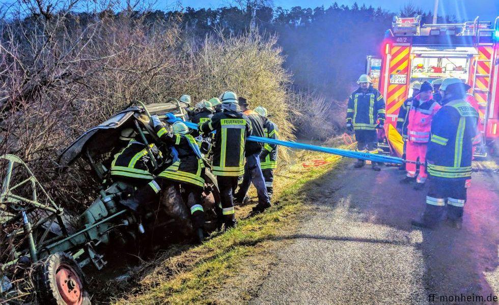 Ein Traktor drohte in die Gailach zu stürzen (15.03.2019)