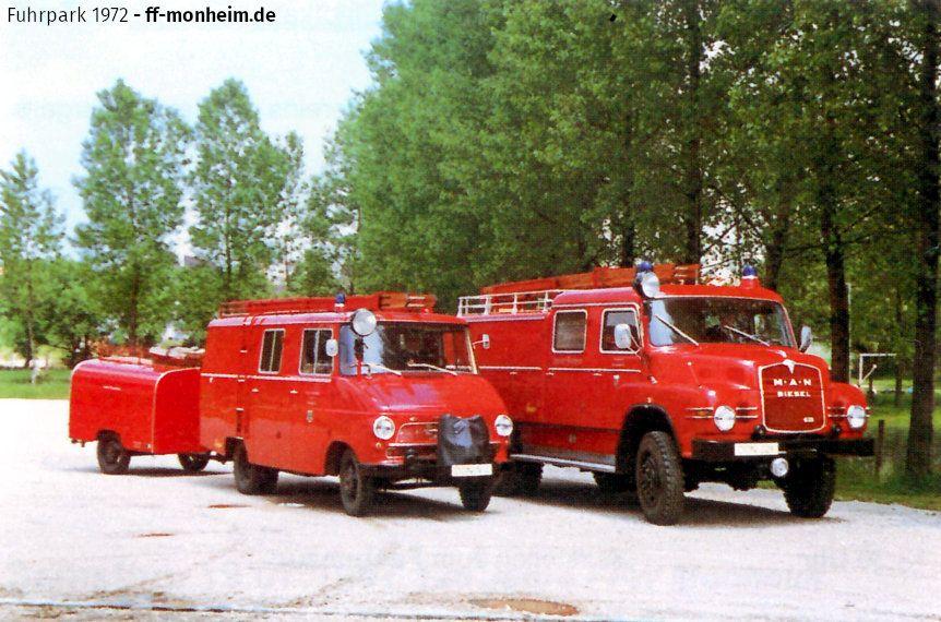 Fuhrpark der Feuerwehr Monheim (Bayern) im Jahr 1972